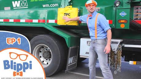 Blippi (English) - Ep 1: Blippi recycles with garbage trucks